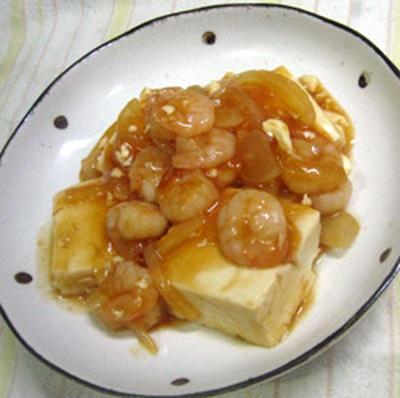 小エビと豆腐のケチャップ煮