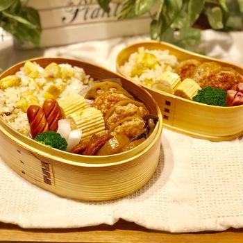 鶏のつくね蓮根煮でお弁当2つ♪