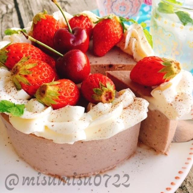 お砂糖なし☆アサイーとベリーバナナのレアチーズケーキ