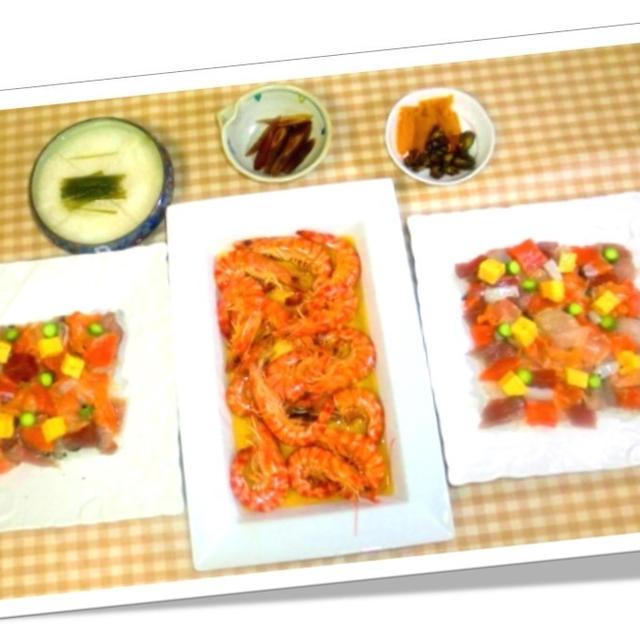 今夜はリメイク彩チラシ寿司と活き才巻海老の紹興酒蒸し