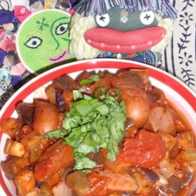 茄子とソーセージのカポナータ風&パプリカのカレーサラダ(お家カフェ)