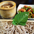■簡単晩ご飯【温ったかつけ蕎麦/ピーマン・ウインナー・椎茸のソテー】