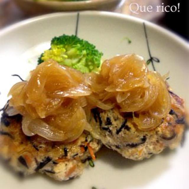 新玉ねぎソースが絶品!豆腐ひじきハンバーグ