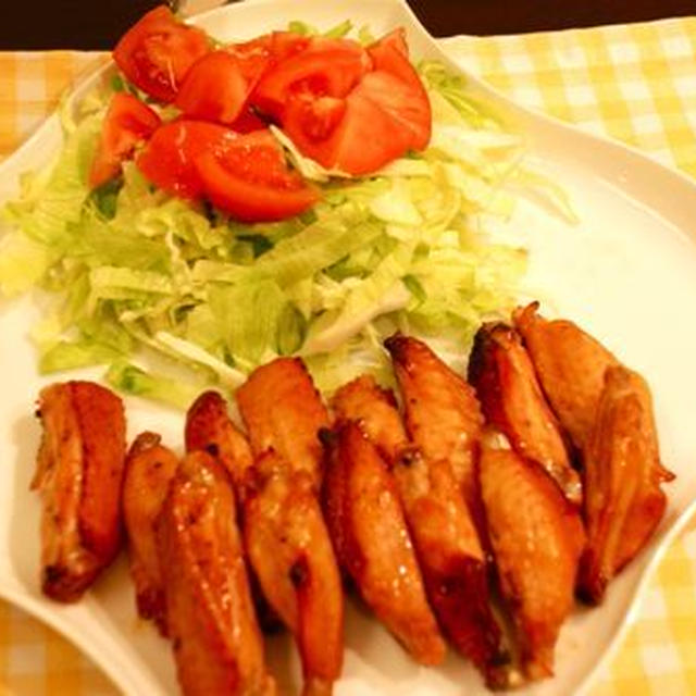 鶏手羽のオーブン焼き、プール進級
