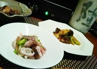 飯蛸とわけぎのぬた、芽キャベツと椎茸のバルサミコ酢炒め、飯蛸旨煮、そして納豆の