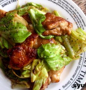 【簡単カフェごはん】春キャベツと鶏肉の柚子胡椒めんマヨ炒めでワンプレート