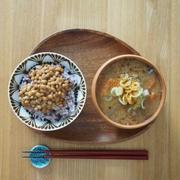 納豆と豚汁の朝ごはん
