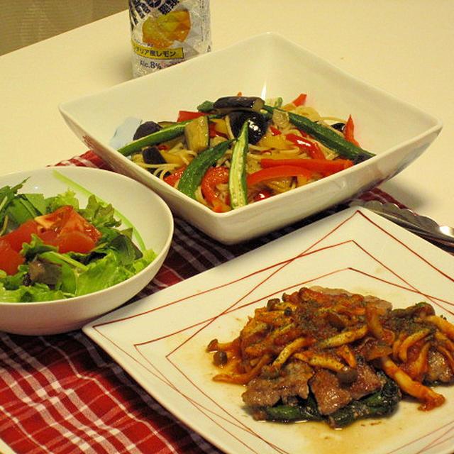 夏野菜のぺペロンチーノ