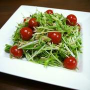 ツナ缶をオイルごと使って☆簡単!水菜ときゅうりのツナサラダ♪
