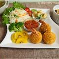 揚げない☆まんまる海老フライコロッケ・リメイク料理3品・きゅうり・長芋・蓮根の酢味噌和え等・・