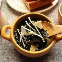 リケンの『焙煎ごまスープ』に豆腐ときのこをちょい足しでヘルシーにボリュームアップ♪