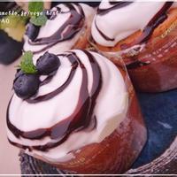 カップシフォンケーキ☆チョコレートソースがけバナナ紅茶風味☆砂糖バター不使用マフィン型でカップケーキ風