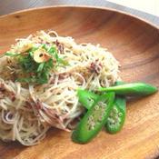 素麺の和風ペペロンチーノ