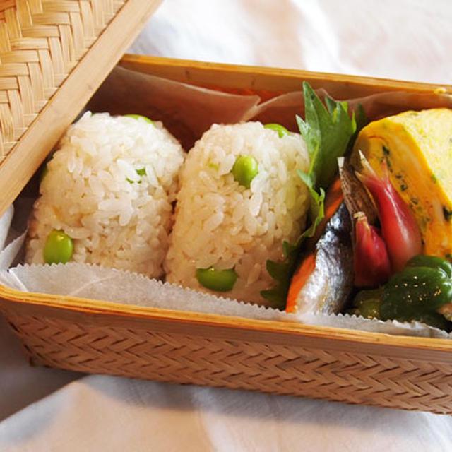 生姜と枝豆の炊き込みごはん・・おにぎりお弁当♪