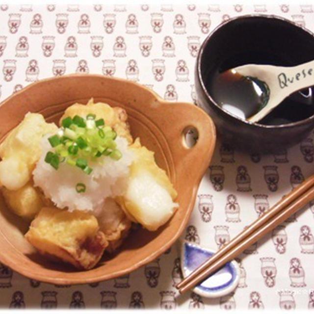 厚切り餅ベーコンの天ぷらみぞれがけ