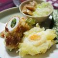 つけ麺に♪冷凍卵の天ぷら(作レポ)とセロリの葉入りちくわ天 &おまけ