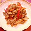 豚肉とパプリカのマスタードにんにく炒め