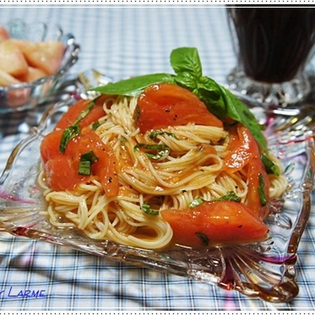 普通のトマトで作る冷製パスタ