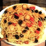 ホタテとミニトマトとオリーブのスパゲティ