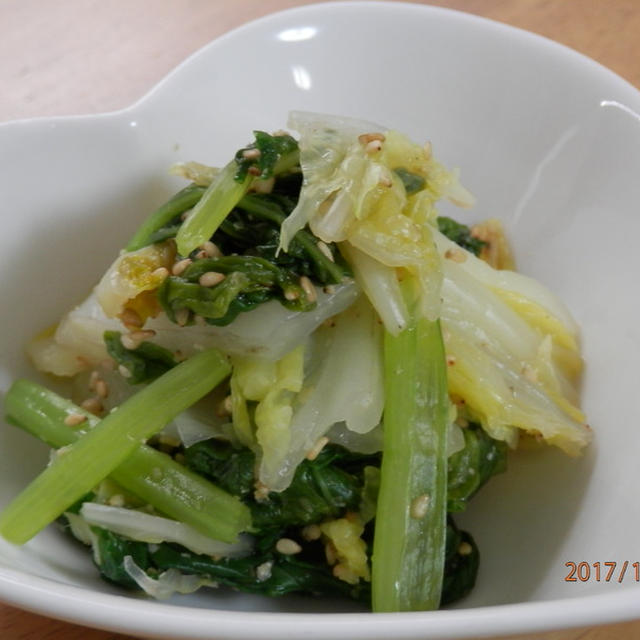 ヘルシー☆白菜と小松菜のごま和え