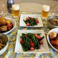 インゲンとトマトの胡麻和え ~ もやしと紫蘇の酢醤油和え(柚子胡椒入り)