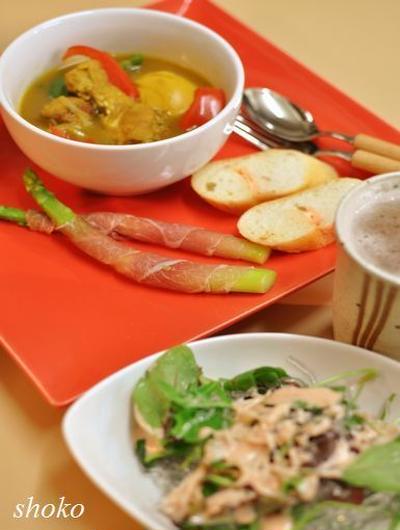 スープカレーとプチプチ海藻麺サラダでお疲れさん♪