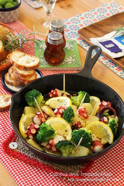 10分でタコとブロッコリーのレモンアヒージョ☆フライパンで簡単おうちバル