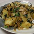 ねぎ味噌バターポテト・ねぎ塩せせりこんにゃく・空芯菜と炒り卵のごま塩昆布ナムル by しまちゅうさん