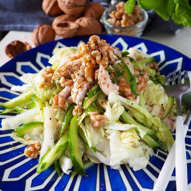 【主菜になる白菜!!白菜大量消費】シャキシャキ白菜と鶏肉の胡桃ごま風味サラダ