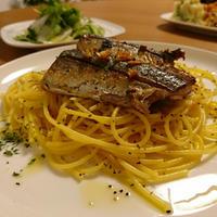 こんがり秋刀魚とサフランのスパゲティー。