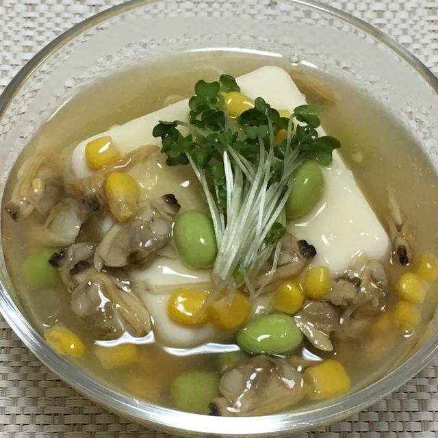 【ヤマキだし部】あさりと夏野菜のあんかけどうふ