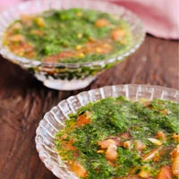 モロヘイヤとトマトの冷製スープ/暑いときにはツルっとさっぱりと♪