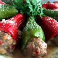 クリスマスカラーなピーマンの肉詰め