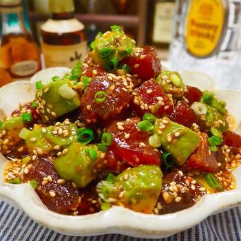 【レシピ】マグロとアボカドの韓国風ピリ辛漬け
