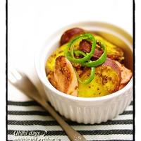 【 さつま芋と魚肉ソーセージのマスタードペパー焼き 】