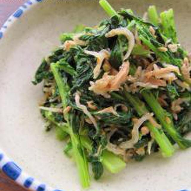 大根葉のツナじゃこ醤油炒め、ほんのりマヨ風味。