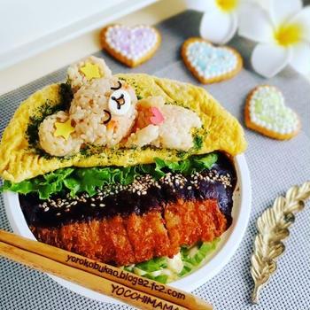 ソースカツ丼&ツナ玉オムレツ丼♪くまちゃんのっけ^^