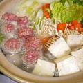 ちゃんこ風肉団子鍋とピリ辛ねぎ味噌*