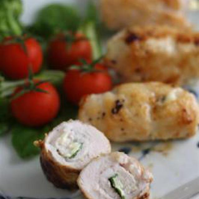 鶏ささみのバジルチーズ巻き