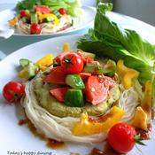 鮭とアボカドパテ風の素麺サラダ