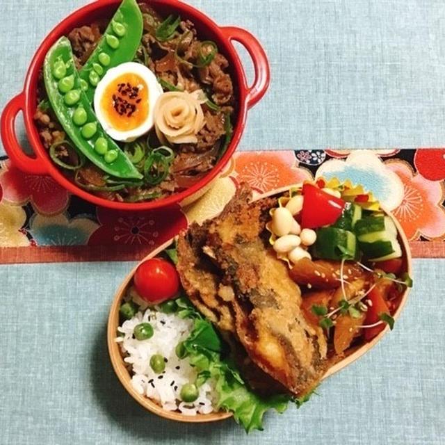カレイのから揚げ・牛丼弁当・娘の作ったオムライス・大豆スプラウト・我が家のシイタケ