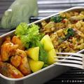 タバスコと昆布水仕込みの鶏のチリソース風炒めのお弁当。