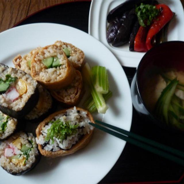 玄米のお寿司ときゅうりのお吸い物