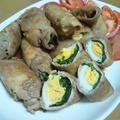 春菊と卵の甘辛豚肉ロール♪