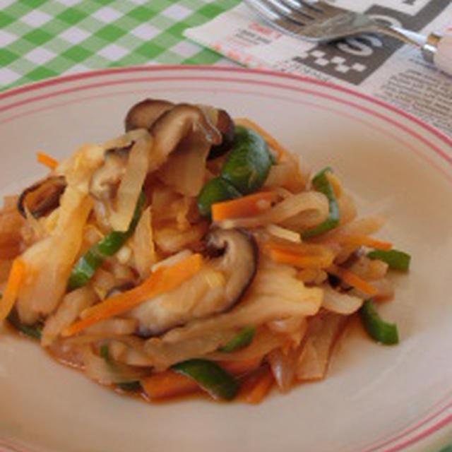 冬野菜がスパゲッティーに!?千切り冬野菜のナポリタン風野菜炒め
