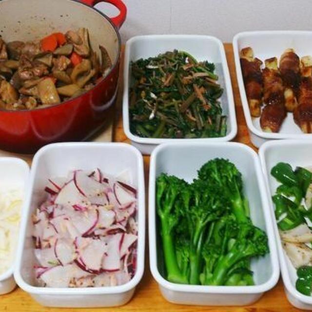 2015/12/13常備菜(ネギの豚肉巻き、筑前煮など) * かまろん・・・?!