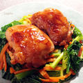 鶏肉の照り焼き☆小松菜人参ガリバタソテーでカサ増し♪簡単※節約