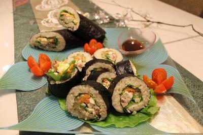 ゆず玄米とオイルサーディンの巻き寿司