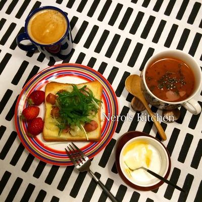ポテトとソーセージのトースト・トマトスープ♪