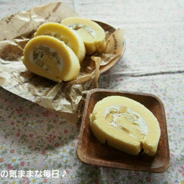 ケーキミックスで☆バナナヨーグルトロールケーキ